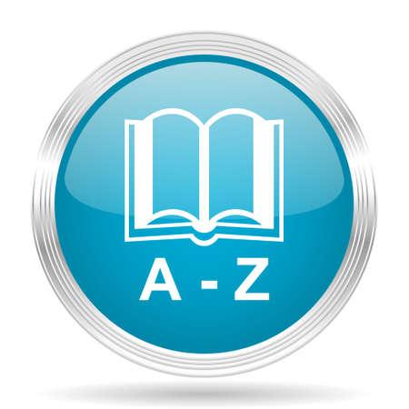 translator: dictionary blue glossy metallic circle modern web icon on white background