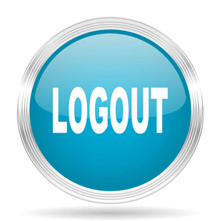ways to go: logout blue glossy metallic circle modern web icon on white background