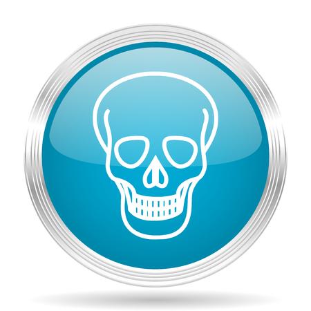 pirating: skull blue glossy metallic circle modern web icon on white background