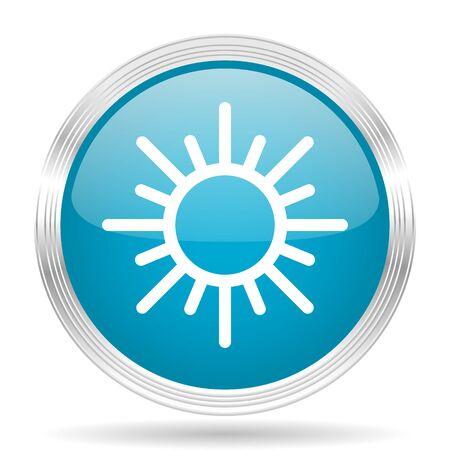 metallic  sun: sun blue glossy metallic circle modern web icon on white background