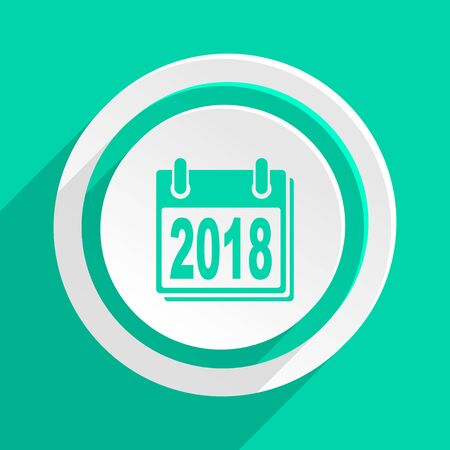 agenda year planner: new year 2018 flat design modern web icon with shadow for internet and app