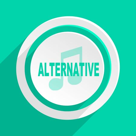listen live stream: alternative music flat design modern web icon with shadow for internet and app