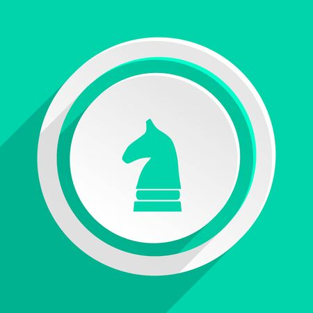 chess horse: chess horse flat design modern web icon with shadow for internet and app