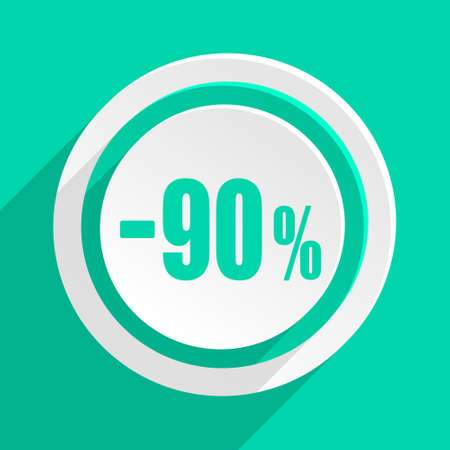 bargains: 90 percent sale retail flat design modern web icon with shadow for internet and app