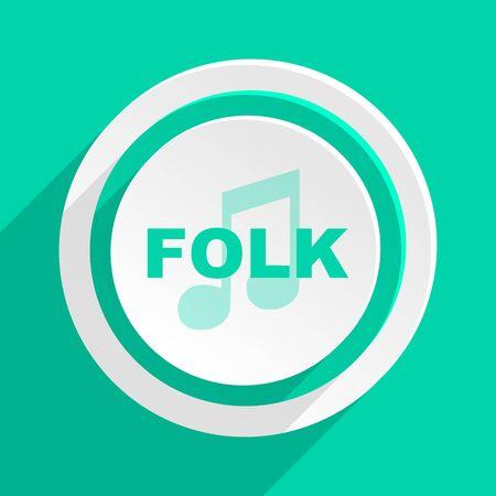 folk music: folk music flat design modern web icon with shadow for internet and app