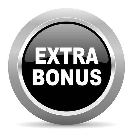 discounting: extra bonus black metallic chrome web circle glossy icon Stock Photo