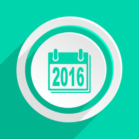 agenda year planner: new year 2016 flat design modern web icon with shadow for internet and app Stock Photo