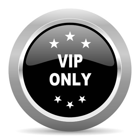 private club: vip only black metallic chrome web circle glossy icon