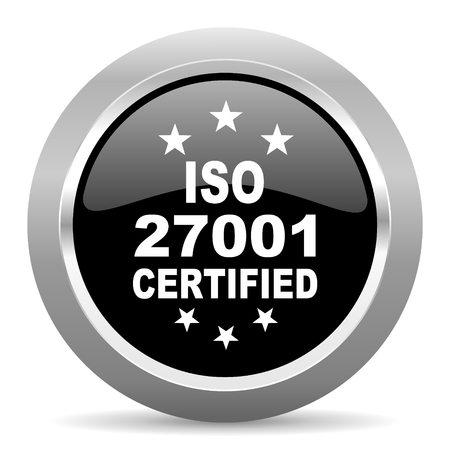 standard steel: iso 27001 black metallic chrome web circle glossy icon