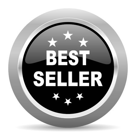 best service: best seller black metallic chrome web circle glossy icon Stock Photo