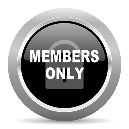 members only: members only black metallic chrome web circle glossy icon Stock Photo