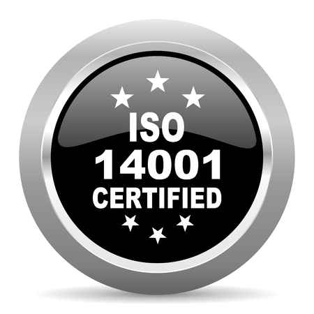 standard steel: iso 14001 black metallic chrome web circle glossy icon