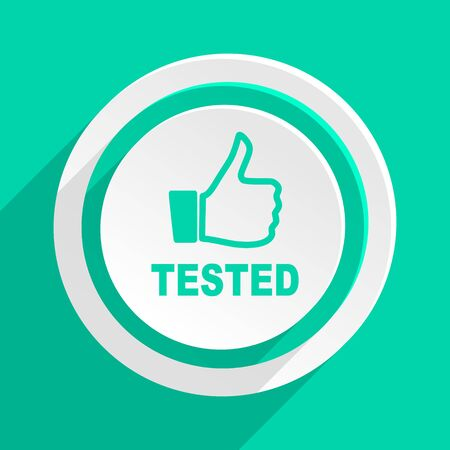 tested: tested flat design modern web icon with shadow for internet and app Stock Photo