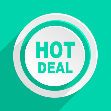 hot deal: hot deal flat design modern web icon with shadow for internet and app