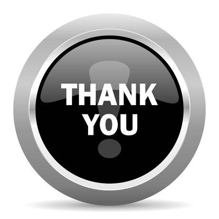te negro: thank you black metallic chrome web circle glossy icon