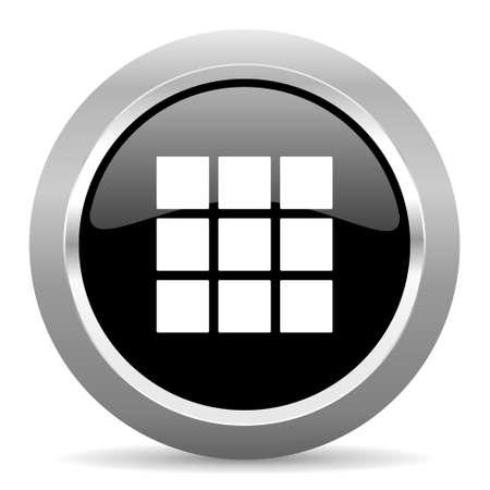 thumbnails: thumbnails grid black metallic chrome web circle glossy icon