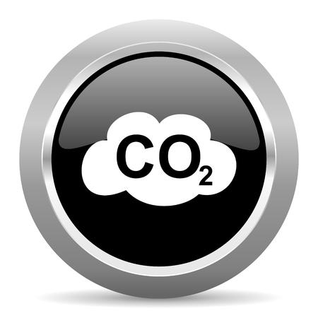 dioxido de carbono: el dióxido de carbono negro metálico del Web de iconos de cromo brillante Foto de archivo