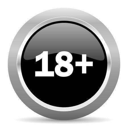 adults: adults black metallic chrome web circle glossy icon Stock Photo