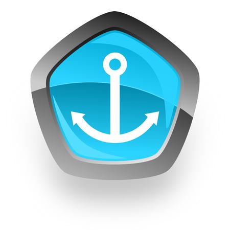 blue button: anchor blue metallic chrome web pentagon glossy icon Stock Photo