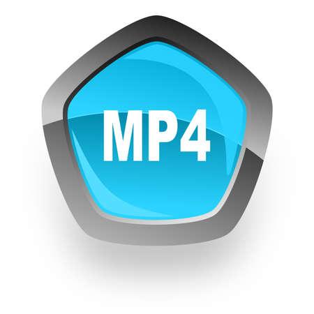 mp4: mp4 blue metallic chrome web pentagon glossy icon Stock Photo
