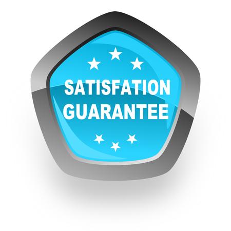 satisfaction guarantee: satisfaction guarantee blue metallic chrome web pentagon glossy icon
