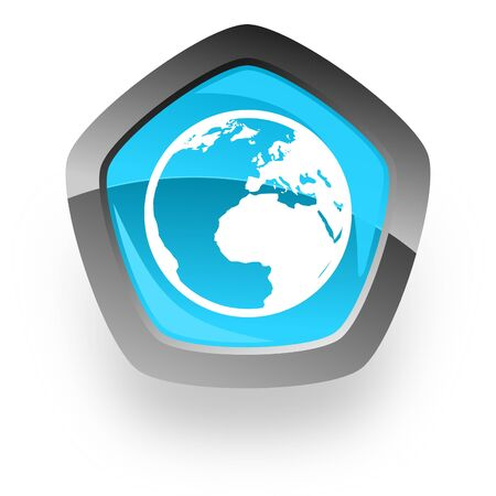 parallels: earth blue metallic chrome web pentagon glossy icon Stock Photo