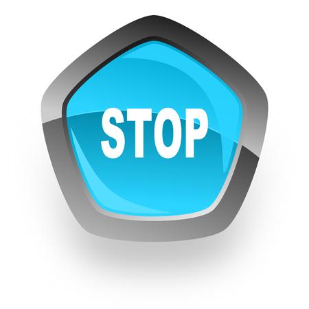 proscribed: stop blue metallic chrome web pentagon glossy icon