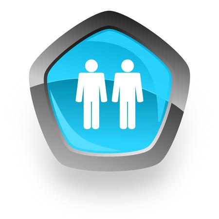 chrome man: couple blue metallic chrome web pentagon glossy icon