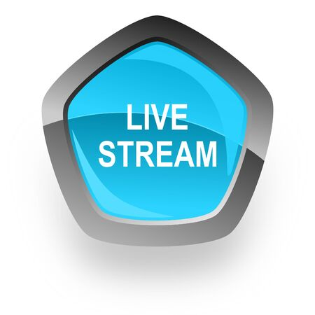 live stream: live stream blue metallic chrome web pentagon glossy icon