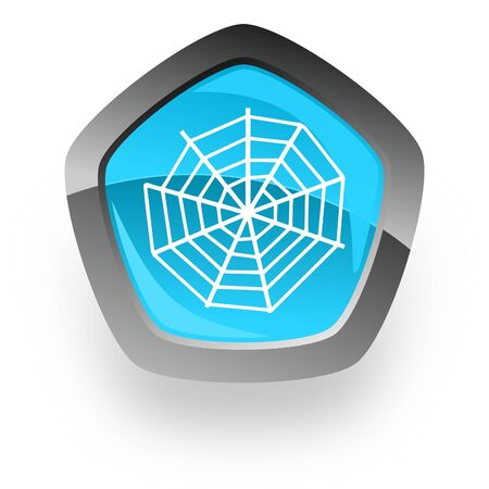 spider modern web blue metallic chrome web pentagon glossy icon Stock Photo