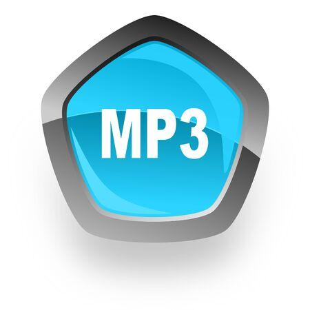 mp3: mp3 blue metallic chrome web pentagon glossy icon Stock Photo