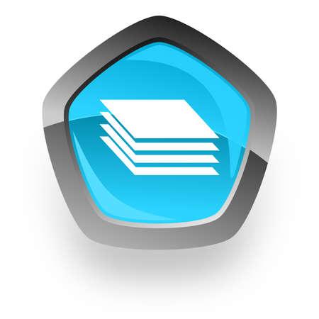 pentagon: layers blue metallic chrome web pentagon glossy icon
