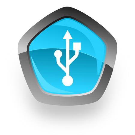 usb pendrive: usb blue metallic chrome web pentagon glossy icon