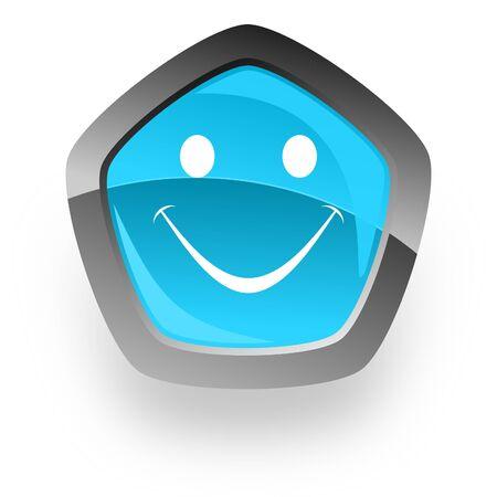 yea: smile blue metallic chrome web pentagon glossy icon Stock Photo