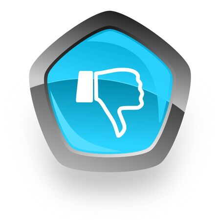 thumb keys: dislike blue metallic chrome web pentagon glossy icon