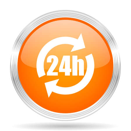 24h: 24h orange silver metallic chrome web circle glossy icon