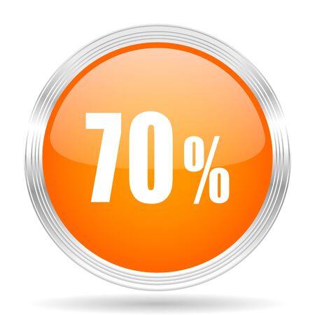 70: 70 percent orange silver metallic chrome web circle glossy icon