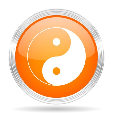 karma graphics: ying yang orange silver metallic chrome web circle glossy icon Stock Photo