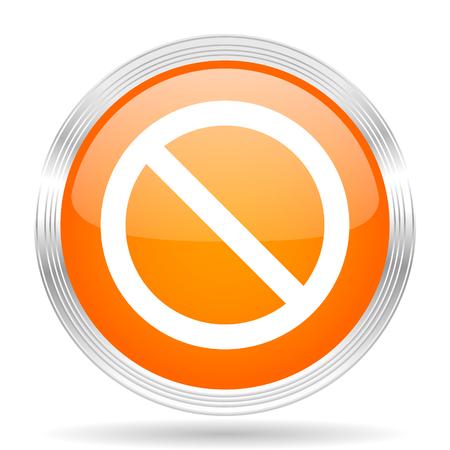 access denied: access denied orange silver metallic chrome web circle glossy icon Stock Photo