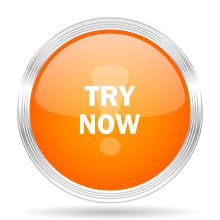 test probe: try now orange silver metallic chrome web circle glossy icon