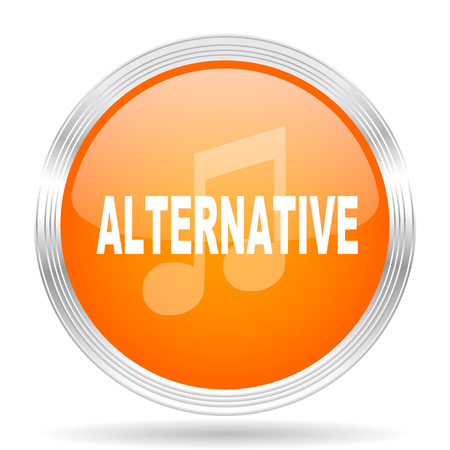 alternative: alternative music orange silver metallic chrome web circle glossy icon Stock Photo