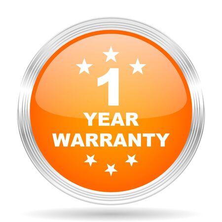 one year warranty: warranty guarantee 1 year orange silver metallic chrome web circle glossy icon
