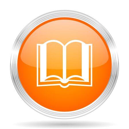 guestbook: book orange silver metallic chrome web circle glossy icon