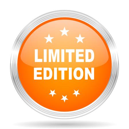 limited edition: limited edition orange silver metallic chrome web circle glossy icon Stock Photo