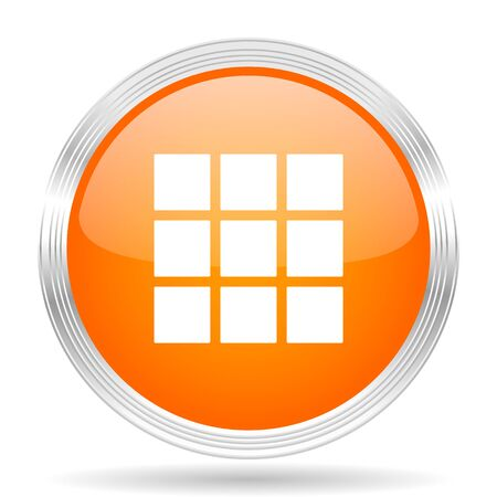 thumbnails: thumbnails grid orange silver metallic chrome web circle glossy icon