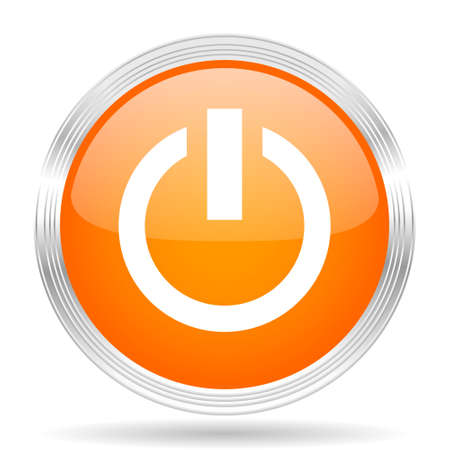 running off: power orange silver metallic chrome web circle glossy icon Stock Photo