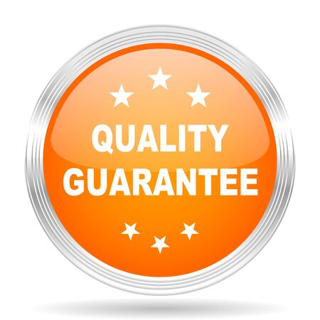 quality guarantee: quality guarantee orange silver metallic chrome web circle glossy icon
