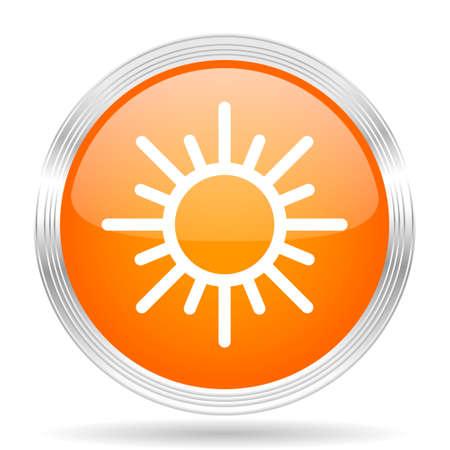 metallic  sun: sun orange silver metallic chrome web circle glossy icon Stock Photo