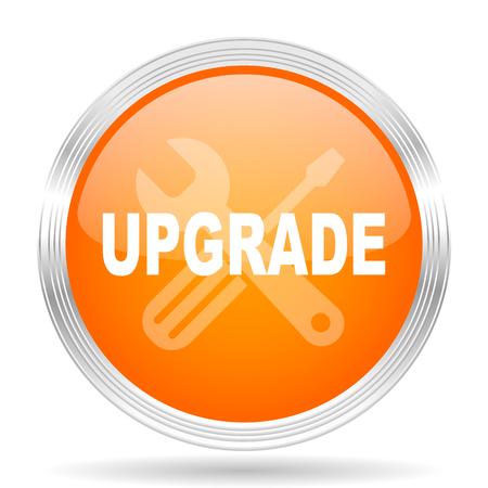 refreshed: upgrade orange silver metallic chrome web circle glossy icon