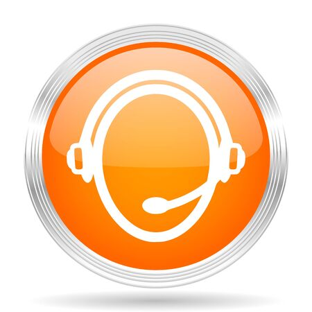 silver service: customer service orange silver metallic chrome web circle glossy icon Stock Photo